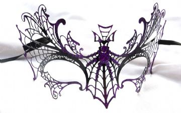 Halloween Black  & Purple Metal Bat Half Mask 1